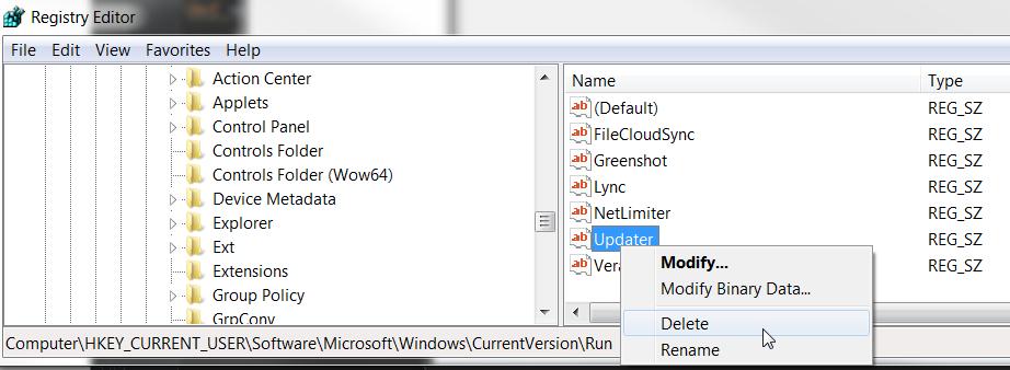cmd remove registry key